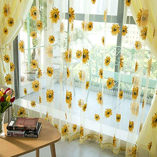 GYDJ Curtain Sunflowers Home Decor Yellow Elegant Bright Sunflower Pattern Durable Kitchen Balcony Room Floral Window Blind Screening Curtain(1PCS)