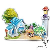 Onuneed(オンユニード) 3D 立体 パズル(風車、城、建物モデル) 子供おもちゃ,積み木 セット お誕生日、進学お祝いプレゼント (ロマンチックビーチ)