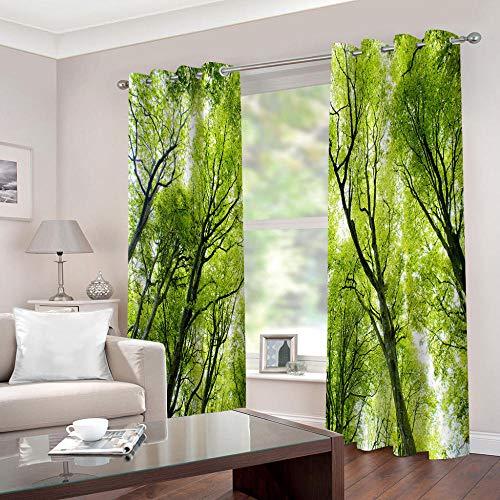 WAFJJ Gardinen Grün & Wald Verdunkelungsvorhänge mit Ösen Gardinen Wärmeschutz & Geräuschreduzierung für Zimmer - Größe:2 x B75 x H166cm
