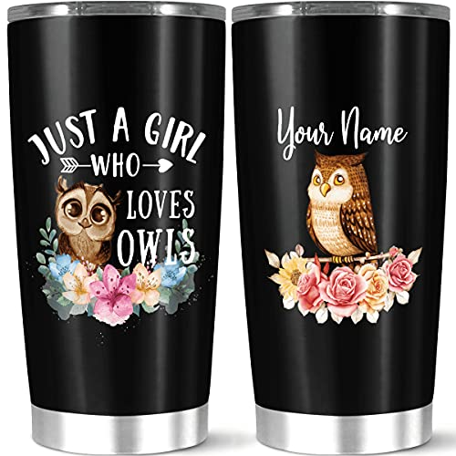 Personalized Tumbler Cup Stainless Steel Insulated Tumbler, Owl Lover Gift For Women, Girls On Birthday, Christmas, Thanksgiving, Owl Tumbler With Lid, Custom Owl Tumbler
