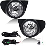 RP Remarkable Power, Fog Lights Bumper Lamps Kit Clear Lens W/Bezel Switch Wiring Harness Bulbs Fit For 2003 2004 2005 Echo FL7027