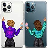 Toik Matching Cases Compatible with iPhone 12 Mini 11 Pro XS Max 10 XR SE X 8 7 Plus 6s Cool BFF Fashion Girlfriend Bestie Blonde Brunette Girls TPU Milkshake Clear Sisters Best Friends Cover CCOP065