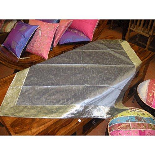 int. d'ailleurs - Nappes Taffetas Brocard 110x110 cm Grise - nsaree10x107