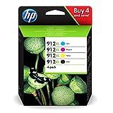 HP 912XL 3YP34AE, Negro y Tricolor, Cartuchos de Tinta de Alta Capacidad Originales, Pack de 4, compatible con impresoras de inyección de tinta HP OfficeJet Pro Series 8010; 8020