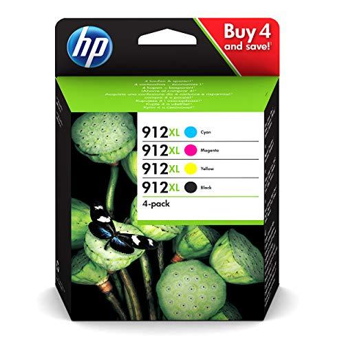 HP 912XL 3YP34AE, Negro, Cian, Magenta y Amarillo, Cartuchos de Tinta de Alta Capacidad Originales, Pack de 4, compatible con impresoras de inyección de tinta HP OfficeJet Pro Series 8010 y 8020