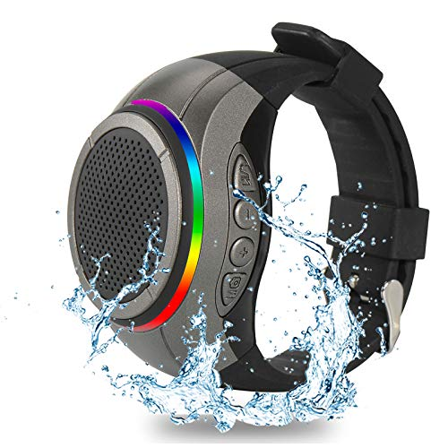 Frewico X10 Waterproof Bluetooth Speaker Watch with TWS+Voice Control+LED Flashing Light+MP3 Player+Microphone+Mirco sd Card Slot, Wearable Music Watch Band for Running, Climbing, Cycling (Gray)