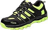 Zapatillas de Seguridad para Hombre Mujer Transpirables Calzado de Trabajo Ligeras con Punta de Acero S3 Unisex Negro Verde 35