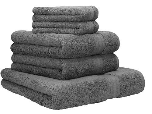 Betz Lot de 5 Serviettes Set de 1 Serviette, Drap de Bain 2 Serviettes de Toilette 2 lavettes qualité 600 g/m² 100% Coton Gold Couleur Gris Anthracite