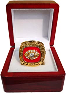 Gloral HIF Kansas City Chiefs Championship Ring Super Bowl 1969 Ring Replica Len Dawson with Display Wooden Box