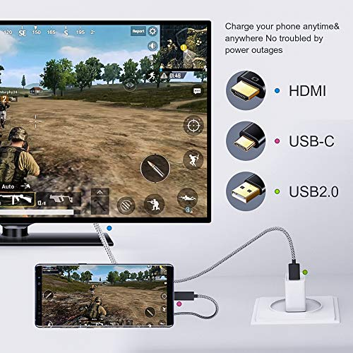 CableCreation USB-C zu HDMI 4K Kabel, 6 Ft, Typ C zu HDMI nach USB 2.0 A Ladekabel, [Kompatibel mit Thunderbolt 3], Kompatibel mit MacBook Pro, MacBook Air/iPad Pro 2018, Yoga 920, Galaxy S8 / S9