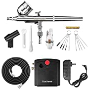 Gocheer Mini Airbrush Kit, Dual-Action Air Brush Pen Gravity Feed Airbrush for Makeup Art Craft Nails Cake Decorating Modeling Tool with Airbrush Cleaning Set