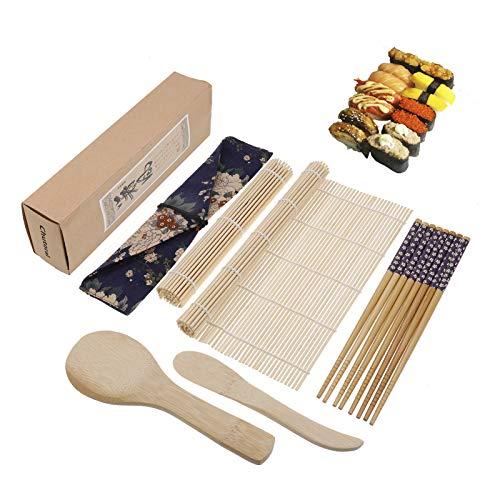 Fingertoys Kit para hacer sushi (9 unidades, bambú para principiantes) - 2 esterillas enrollables para sushi + 4 pares de palillos + 1 hilo de arroz + 1 cuchillo de bambú