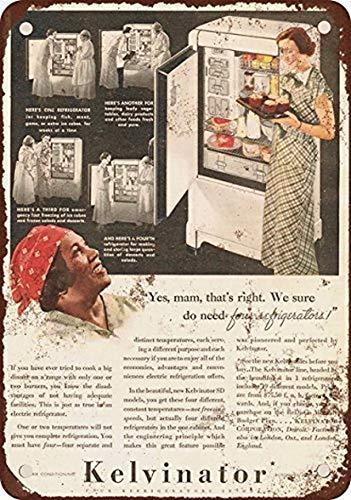 MNUT Cartello in Metallo Grande in Latta 20,3 x 30,5 cm Kelvinator Frigoriferi Stile Vintage Riproduzione Metal Tin Sign 20,3 x 30,5 cm Vintage Home Wall Decor Art