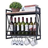 Small and Beauty Wine Glass Rack Wall Mounted ,23.6in Industrial Wall Wine Racks for Wine Bottles,2-Tier Wood Shelf Wine Holder,Hanging Wine Racks with 5 Stem Glass Holder,Mugs Racks(Black Metal)