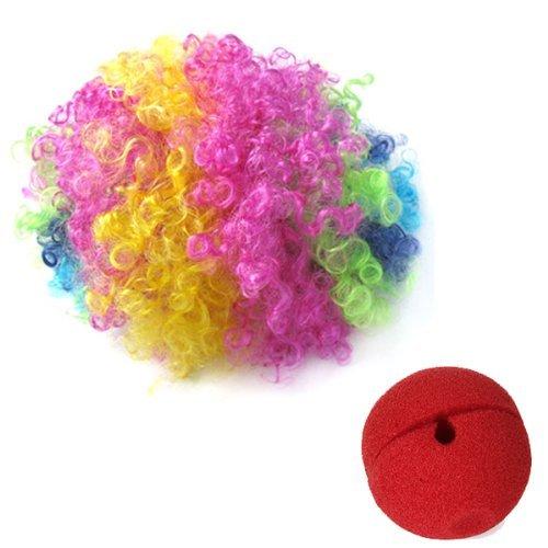 Gleader Nez de Clown Rouge en Mousse + Multi-couleur Perruque de Clown pour Masquerade Deguisement Cosplay