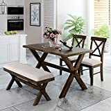 Harper & Bright Designs 4-Piece Wood Dining Table Set, Farmhouse Rustic Kitchen Dining Table with 2 Upholstered X-Back Chairs and Bench, Brown+Beige