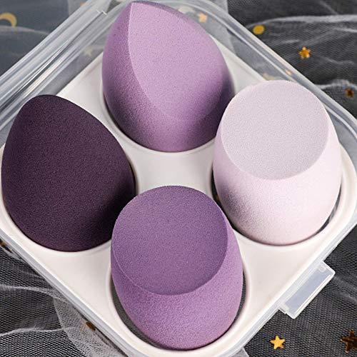 Make-Up Schwamm Beauty Sponge Blender,Professionelle Kosmetische Puff Bevel Cut,Zubehör Werkzeuge Schönheit Ei (4 Stücke, Lila)