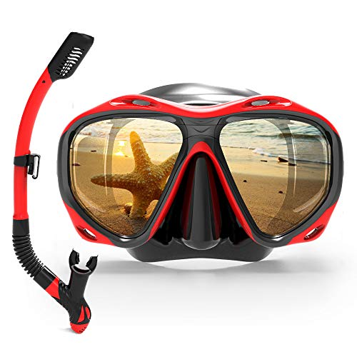 COPOZZ Snorkel Mask Set for Snorkeling Scuba Diving Freediving Swimming - for Adult Women Men Youth Swimmers - Dry Top Snorkel & Single Lens Mask/Goggles - with Mesh Gear/Equipment Bag