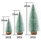 Herefun Mini Weihnachtsbaum Künstlicher, 9 Stück Mini Tannenbaum Künstlich mit Schnee-Effek, Weihnachtsdeko Weihnachten Tischdeko DIY Grün Klein Mini Christbaum 10/15 /20 cm - 2