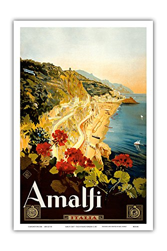 Amalfi Italia - Campania, Italy - Vintage World Travel Poster by Mario Borgoni c.1925 - Master Art Print - 12in x 18in