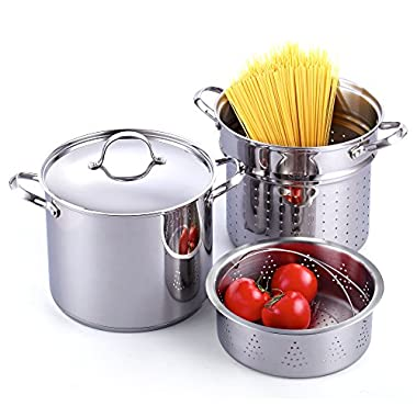 Cooks Standard Classic 4-Piece 12 Quart Pasta Pot Cooker Steamer Multipots, Stainless Steel