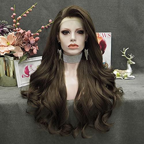 Imstyle Dunkel Braune Lace Front Perücke Lange Wellenförmige Synthetische Perücke für Frauen Tägliche Party Tragen Hitzebeständig Hohe Dichte 26 Zoll Natürliche Frisur