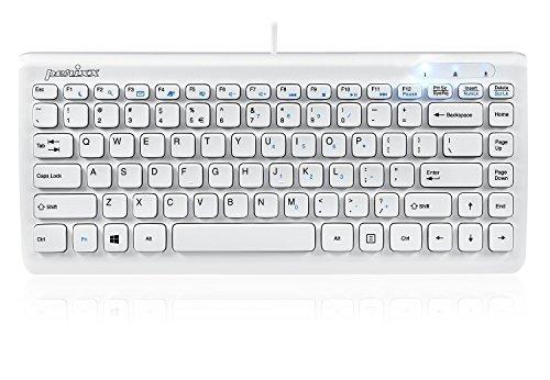 Perixx PERIBOARD-407W US, Wired USB Mini Keyboard with 11 Hot Keys - Glossy White - US English Layout