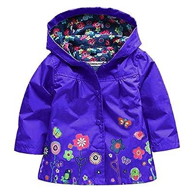 Wennikids Baby Girl Kid Waterproof Floral Hooded Coat Jacket Outwear Raincoat Hoodies Large Dark Purple