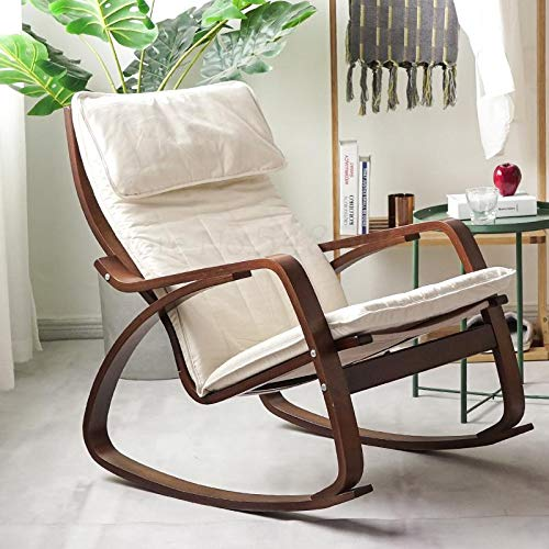 Pang Fashion Rocking Chair Home Balcony Lounge Chair Rocking Chair Living Room Fabric Lunch Chair