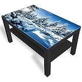 IKEA Lack Beistelltisch Couchtisch 'Weiß- Fichten' Sofatisch mit Motiv Glasplatte Kaffee-Tisch von DEKOGLAS, 90x55x45 cm Schwarz