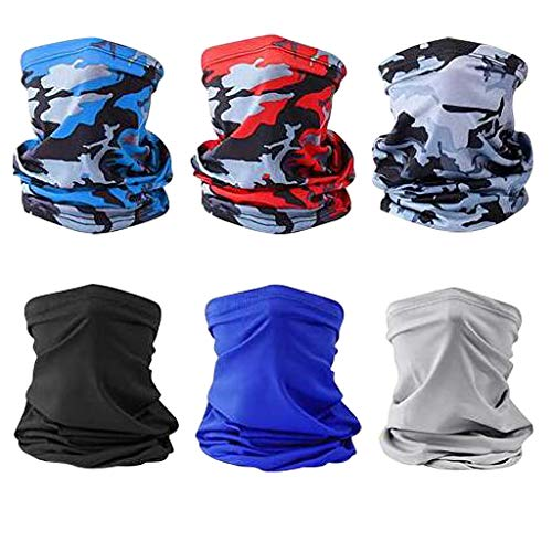 Affordable 6 Pieces Outdoor Cycling Face Bandanas of Sunscreen Protection Neck and Windproof Scarf C...