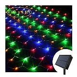 YLZSX Lichtervorhang Solar Netz Beleuchtung, Solar Lichterkette Aussen LED Bunt Lichternetz Weihnachten LED 3 X 2m 200LEDs Hochzeit Garten Dekoration, Vorhang Außen Fairy LichterkettenColores