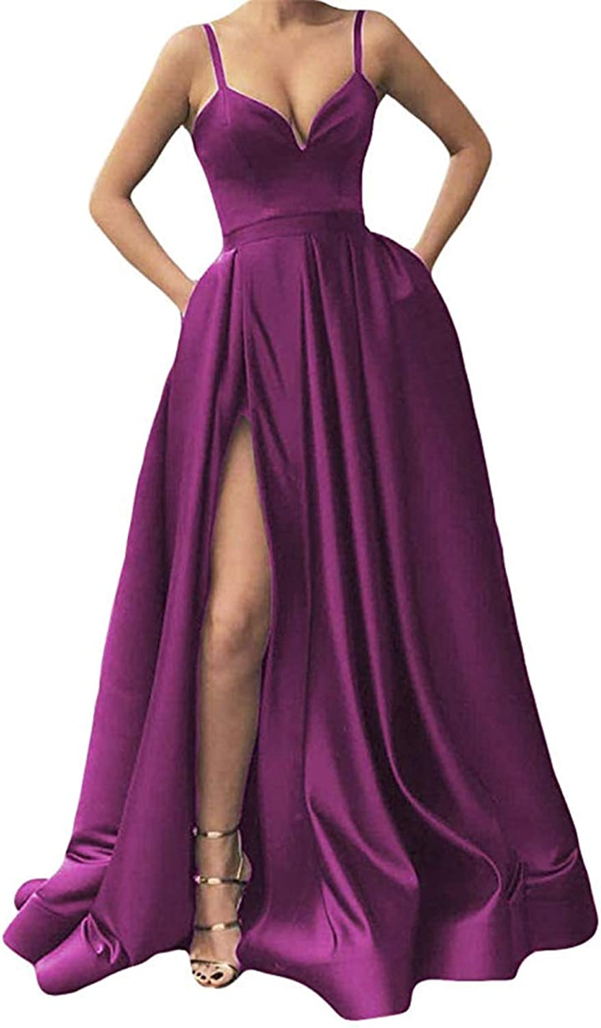Clothfun Women's Long Spaghetti Strap Prom Dresses Satin with Slit Evening Formal Party Gowns PM30