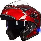 ILM Bluetooth Motorcycle Helmet Modular Flip up Full Face Dual Visor Mp3 Intercom FM Radio DOT Approved (Red, L)