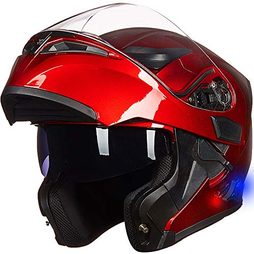 ILM Bluetooth Motorcycle Helmet Modular Flip up Full Face Dual Visor 6 Riders Group Intercom Mp3 FM Radio DOT(Red,Medium)