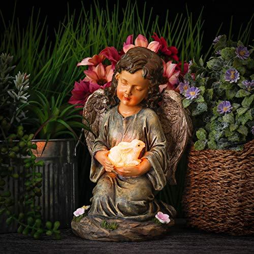 TERESA\'S COLLECTIONS Engel Gartenfiguren für Außen Solarleuchte 23cm aus Kunstharz Wetterfest Schutzengel Dekofigur Solarlampe Gartendeko Figuren für Terrasse Garten Rasen Haus MEHRWEG Verpackung