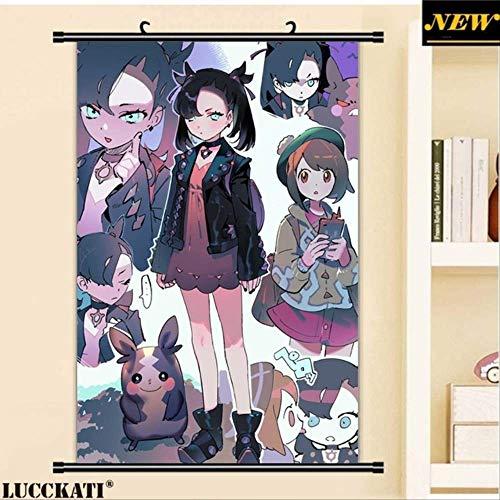 JIAJIAFU Pokemon Sword and Shield Sexy Loli Cameltoe Animal Ears Marie Rurina Cartoon Anime Wall Scroll Poster Lienzo Pintura 60 X 90 CM X
