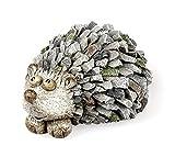 Deko Figur Gartenfigur Igel 15 cm lang, Polystein Stein Optik grau, Dekofigur Igelchen zum Hinstellen Frühlingsdeko Gartendeko Herbstdeko