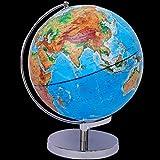 MHCYKJ Globo de alivio tridimensional lámpara de mesa terrestre globo luminoso brillante grandes muebles de oficina de metal HD para el hogar