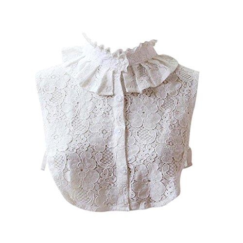 Kanpola Damen Kragen Bluse Top Elegant Abnehmbare Blusenkragen Shirtkragen Topkragen Weiß/Grau (Weiß Y5)