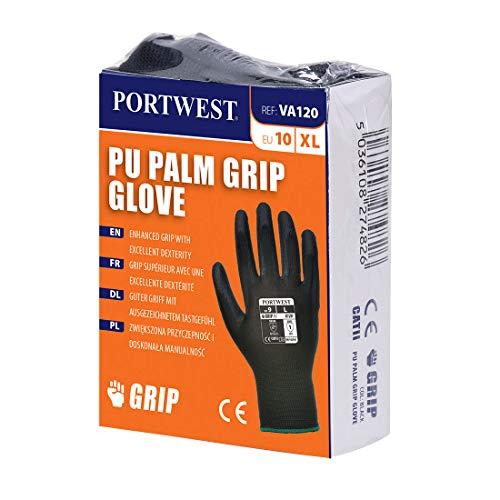Portwest va120K8rs Getränkeautomaten PU Palm Handschuh, Regular, Größe: klein, schwarz