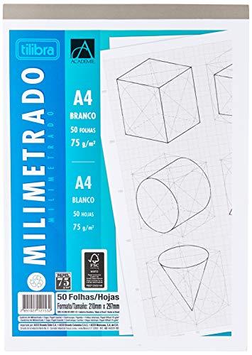 Caderno Colado Milimetrado A4 Branco Académie 50 Folhas, Tilibra - 1 un
