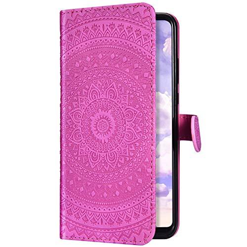 Uposao Kompatibel mit Samsung Galaxy S10 Plus Handyhülle Leder Hülle 3D Mandala Blumen Muster Brieftasche Klapphülle Flip Case Schutzhülle Tasche Magnet Kartenfach Standfunktion,Rose Pink