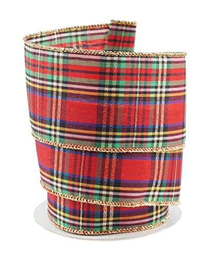 """Traditional Tartan Plaid with Gold Trim Linen Wired Ribbon #40 - 2.5"""" x 10 Yards"""