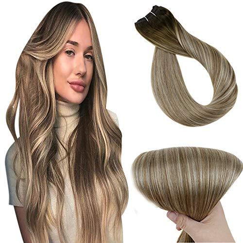 Tissage Bresilien, Tissage Naturel Cheveux Humain Lisse, Non Transformés De Vrais Trames De Cheveux Humains par Easyouth® (1 Pcs: 14\