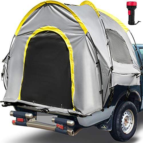 VEVOR Truck Tent 5-5.2', Truck Bed Tent Compact Short Bed, Pickup Tent, Waterproof Truck Camper, 2-Person Sleeping Capacity, 2 Mesh Windows, Easy To Setup Truck Tents For Camping, Hiking, Grey Color