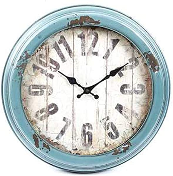 Antique Blue Distressed Metal Wall Clock