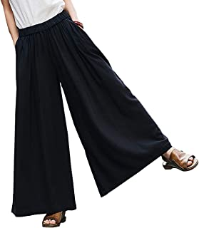 Women's Casual Elastic Waist Linen Wide Leg Pants Trousers Culottes with Pockets