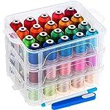 New brothread 60 Brother Colores 500m Bordado Máquina hilo con caja de almacenamiento de plástico transparente para máquina de coser bordado