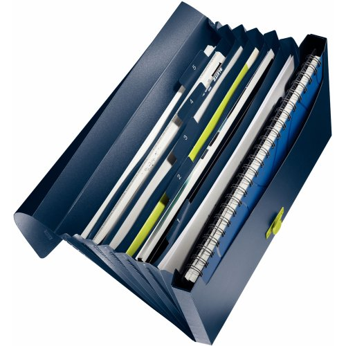 Leitz 46240069 Fächermappe re:cycle, A4, 6 Fächer, PP, dunkelblau
